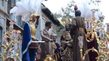 Semana Santa Holy Week in Malaga,Spain — Stock Video