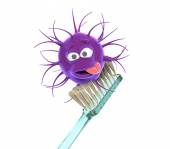 Toothbrush with bacteria — Stock Photo