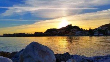 Coast at sunset Málaga Spain — Stock Video
