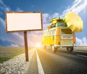 Van with suitcases, sunshade roof traveling for summer holidays — Stock Photo