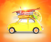 Small car traveling for summer holidays — Stock Photo