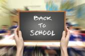 Black school blackboard with chalk drawing — Stock Photo