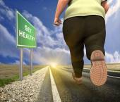 Fat man running — Stock Photo