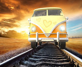 Van on railway — Stock Photo