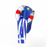 Greek flag asks for help to Europe — Stock Photo