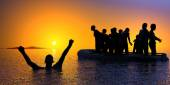 Boat with migrants — Stock Photo