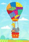 Animal In Hot Air Balloon — Stock Vector