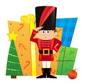 Nutcracker and Presents — Stock Vector