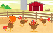 Turkey Farm — Stock Vector