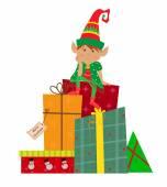 Elf ve hediyeler — Stok Vektör