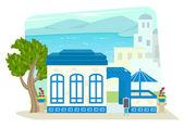 Greek Restaurant — Stock Vector