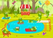 Frogs Pool Party — Stock Vector