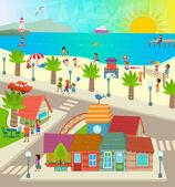 Beach Town — Stock Vector