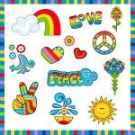 icônes de style années 60 — Vecteur #75834905
