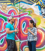 Couple Chatting in Skatepark — Stock Photo