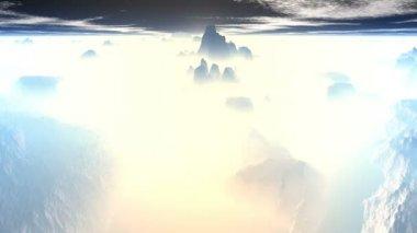 Mountain peaks of fog — Stock Video