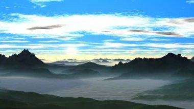 Sunrise over the misty hills — Stock Video