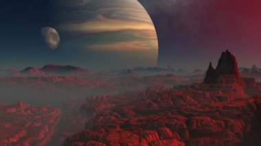 Gas giant, moon and the red planet — Stock Video