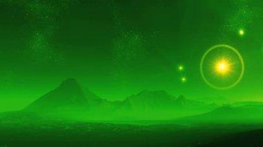 Surrealistische zonsopgang op een planeet van vreemdelingen — Stockvideo