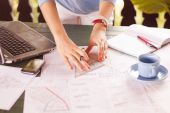 Young Architect working outdoors — Stock Photo