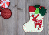 Christmas decorations and sock on wood background. Beautiful Chr — Stock Photo