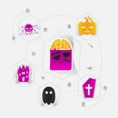Halloween flat infographic — Stock Vector