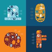 Halloween sticker infographic — Stock Vector