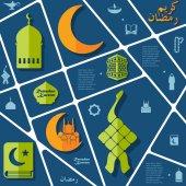 Flat infographic: Ramadan Kareem — Stock Vector