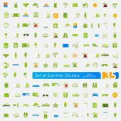 Set of summer stickers — Stock Vector
