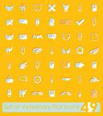 Conjunto de iconos planos veterinarios — Vector de stock