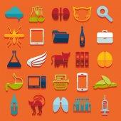 Set of veterinary flat icons — Vector de stock