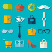 Set of fashion flat icons — Stock Vector