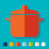 Flat design: saucepan — Stock Vector