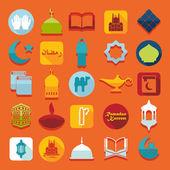 Flat icons: Ramadan Kareem — Vector de stock