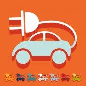 Flat design: eco car — Stock Vector