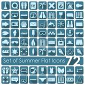 Set of summer flat icons — Stock Vector