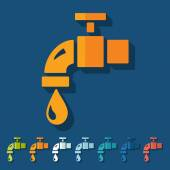 Flat design: water tap — Stock Vector