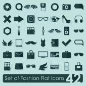 Set of fashion flat icons — Vector de stock