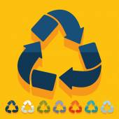 Flat design: recycle sign — Stock Vector