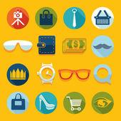 Conjunto de iconos de la moda plana — Vector de stock