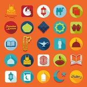 Ramadan Kareem set of flat icons — Wektor stockowy