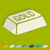 Bullion gold flat design icons — Stock Vector