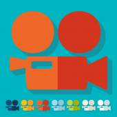 Movie cameras flat design icons — Stockvektor