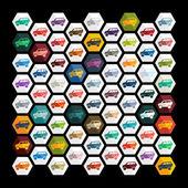 Auto's platte ontwerp pictogrammen — Stockvector