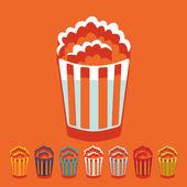 Popcorn flat design icons — ストックベクタ