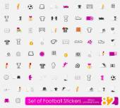 Uppsättning av fotboll klistermärken — Stockvektor