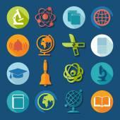 Utbildning platt ikoner — Stockvektor