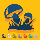 Mushrooms icons — Stok Vektör