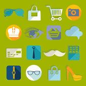 Icone della moda piatto — Vettoriale Stock