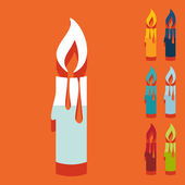 Christmas candle icons — Stock Vector